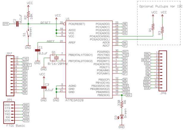 atmega schematic pro mini arduino 3V bare bones